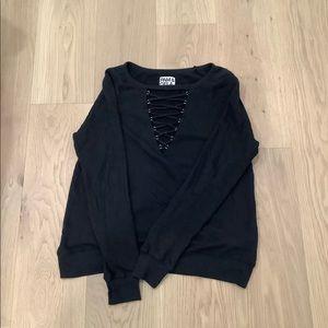 Pam & Gela Black Long Sleeve Top